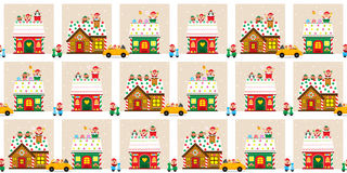 Christmas Town Seamless Stock Images