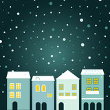 Christmas town on snowing. Simple stylized winter town. Vector Illustration Stock Images
