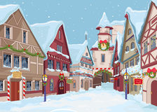 Christmas town. Street at winter day vector illustration