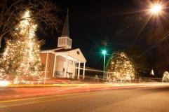Christmas town usa. Night trafic Stock Image