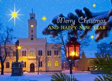 Christmas Town with Writing Marry Christmas Stock Photography