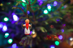 Christmas toy angel with a red heart in the hands  Royalty Free Stock Photos