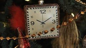 Christmas toy as a clock closeup.  stock footage