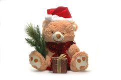 Christmas toy bear. With red hat Royalty Free Stock Image