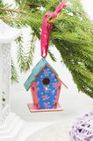 Christmas toy birdhouses Stock Photos