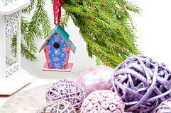 Christmas toy birdhouses and other decorations Royalty Free Stock Photo