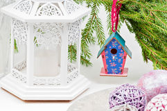 Christmas toy birdhouses and other decorations Stock Images