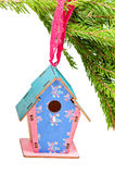 Christmas toy blue birdhouses Stock Photo
