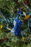 Christmas toy blue violin Royalty Free Stock Photo