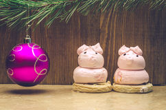 Christmas toy and cakes. Christmas violet toy and two cakes Stock Images