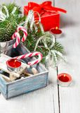 Christmas toy and candy canes Royalty Free Stock Image