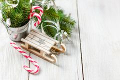 Christmas toy and candy canes Stock Photos