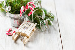 Christmas toy and candy canes Royalty Free Stock Images