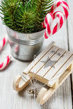 Christmas toy and candy canes Stock Images
