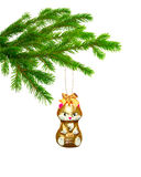 Christmas toy cat on tree. Isolated Stock Photography