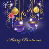 Christmas toy, christmas attributes, card, glass balls, merry christmas. Vector illustration of  christmas toy, christmas attributes, card, glass balls, merry Stock Photography