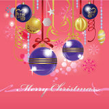 Christmas toy, christmas attributes, glass balls, merry christmas. Vector illustration of  christmas toy, christmas attributes, card, glass balls, merry Royalty Free Stock Photo