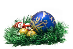 Christmas toy with colorful New Year Balls Royalty Free Stock Photos