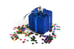 Christmas toy with confetti Stock Photos