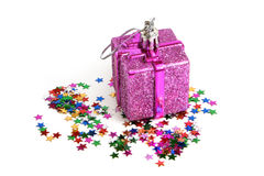 Christmas toy with confetti Royalty Free Stock Photos
