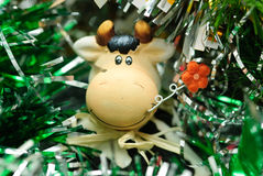 Christmas toy cow Stock Image
