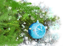 Christmas and toy. Christmas decoration and green pine royalty free stock image
