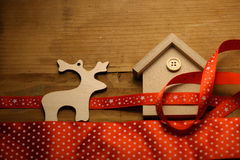 Christmas toy decoration on wooden background Royalty Free Stock Photo