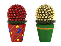 Christmas toy. Decorative pine cone in a pot Royalty Free Stock Photos