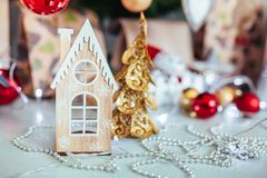 Christmas toy drive. Christmas elkay. Christmas gifts. Beautiful photo Royalty Free Stock Photography