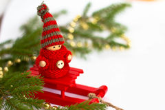 Christmas toy and fir tree Stock Image
