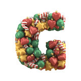 Christmas toy font. Isolated on white background. 3D illustration Royalty Free Stock Photos