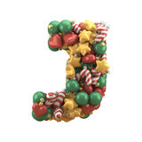 Christmas toy font. Isolated on white background. 3D illustration Royalty Free Stock Photo
