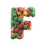 Christmas toy font. Isolated on white background. 3D illustration Royalty Free Stock Image