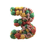Christmas toy font. Isolated on white background. 3D illustration Stock Photography