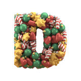 Christmas toy font. Isolated on white background. 3D illustration Royalty Free Stock Images