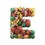 Christmas toy font. Isolated on white background. 3D illustration Stock Photo