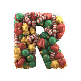 Christmas toy font. Isolated on white background. 3D illustration Stock Photos