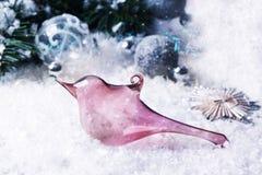 Christmas toy glass bird Stock Photo