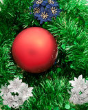 Christmas toy with green spangle royalty free stock photos