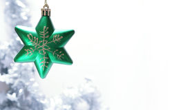 Christmas toy. Christmas green star on white background Stock Images