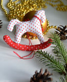 Christmas toy. Handmade Christmas Decoration Hanging Toy royalty free stock photo