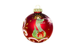 Christmas toy with the image of a snake on a white background Royalty Free Stock Image