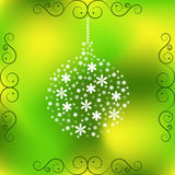 Christmas toy of little white flowers on light green background. Symbol of Christmas for your design Royalty Free Stock Images