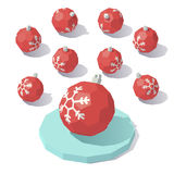 Christmas toy red ball. Vector isometric low poly Christmas toy red ball with snowflake Stock Image