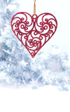 Christmas toy. Christmas red heart on white background Royalty Free Stock Photo