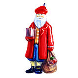 Christmas toy Santa Claus with gifts figurine. Isolated, , watercolor painting on white background Royalty Free Stock Image