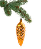 Christmas toy in the shape of a cone on a branch Royalty Free Stock Photography