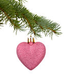 Christmas toy in the shape of heart Stock Images