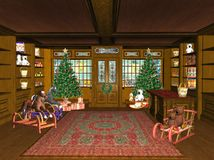 Christmas toy shop. Illustration of an old fashioned toy shop at Christmas Royalty Free Stock Photos