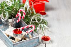 Christmas toy and candy canes Royalty Free Stock Photography